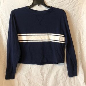 Blue crop top with white stripe